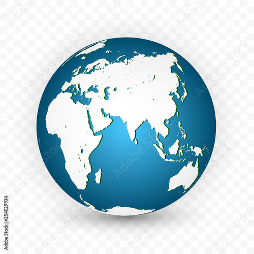 Earth globe. World map set. Planet with continents. Vector Illustration Wall mural