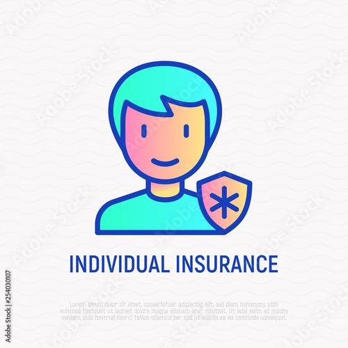 Obraz Individual insurance thin line icon. Man with medical shield. Modern vector illustration. - fototapety do salonu
