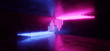 canvas print picture - Sci Fi Blue Pink Purple Neon Futuristic Cyberpunk Glowing Retro Modern Vibrant Lights Laser Show Empty Stage Room Hall Reflective Concrete Grunge  Club Background 3D Rendering