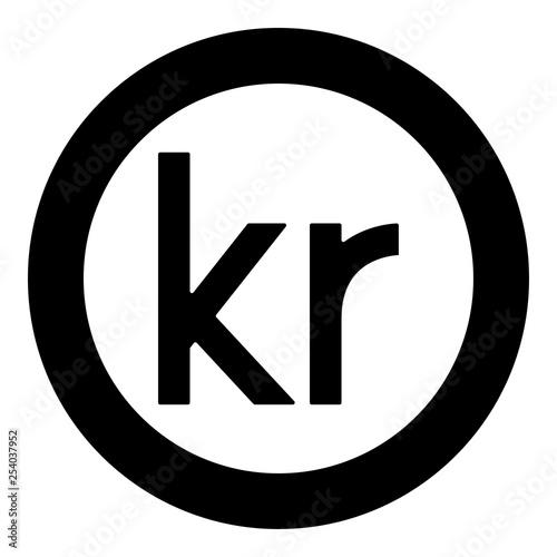 Fotografia, Obraz  Krone of Denmark Danish krone icon black color vector in circle round illustrati