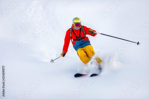 Fotografie, Obraz  Man skier high speed rides on fresh snow, dust in air
