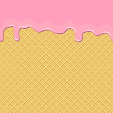 Seamless Background. Waffles With The Current Sweet Pink Cream