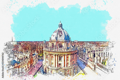 Fotomural Watercolor sketch or illustration of a view of Radcliffe Camera at Oxford Univer
