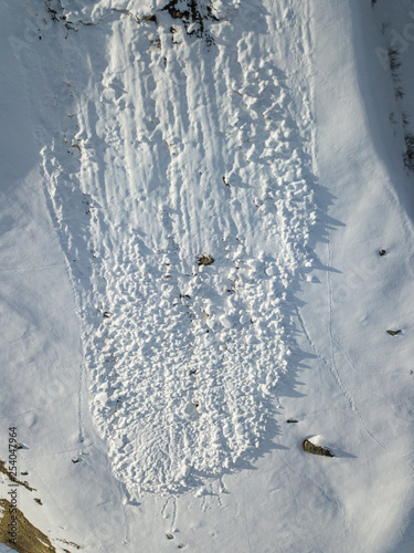 Aerial view of snow avalanche on mountain slope Canvas Print