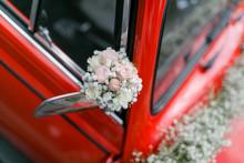 Hochzeitsauto, Roter VW Käfer, Autoschmuck
