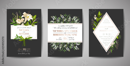Set Of Wedding Invitation Floral Invite Thank You Rsvp Rustic