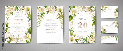 Foto  Floral wedding set of cards invitation, rsvp, thank you, reception, save the dat