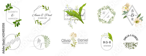 Photo  Big set of Wedding monogram logos collection, hand drawn watercolor rustic and f