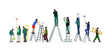 Painter Workers On Ladder Vector Illustration Isolated On White. Man Decorator Painting Wall With Paint Brush Roller. Crew Renovation Home. Handyman Move In Job. Washing Window Cleaning Service Action