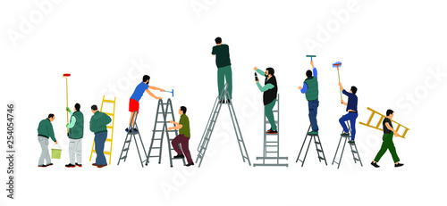 Painter workers on ladder vector illustration isolated on