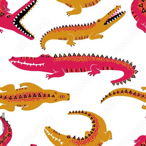 Foto Colorful Crocodiles Seamless Pattern.