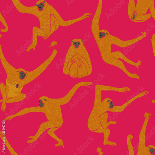 Fotomural Seamless Pattern With Gibbon Monkey In Action.