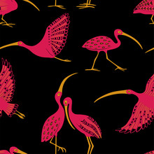 Seamless Pattern With Ibis Birds.