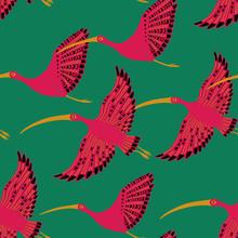 Seamless Pattern With Ibis Birds.