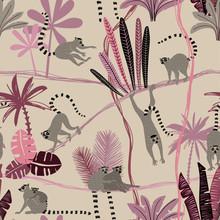 Lemur In Jungle Seamless Patte...