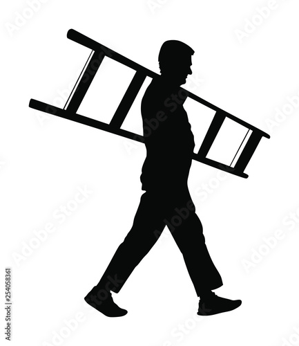 Builder carrying a ladder vector silhouette isolated on