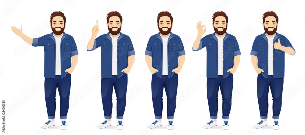 Fototapeta Handsome big man in casual clothes standing in different poses set isolated vector illustration