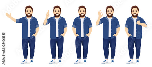 Obraz Handsome big man in casual clothes standing in different poses set isolated vector illustration - fototapety do salonu