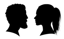 Man And Woman Face Silhouette....