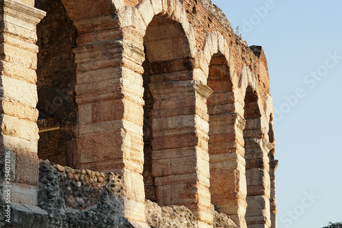 Poster de jardin Con. Antique Detail of the Verona Arena, a Roman amphitheatre in Piazza Bra in Verona, Italy, built in the first century