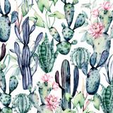 Kaktusy wzór, tło akwarela, ręcznie rysowane kwiat ilustracja. Rośliny idealne do projektowania naklejek, kart okolicznościowych, tapet, tła, strony, bloga, banera. Pojedynczo na białym. Kolekcja kaktusów. - 254074521