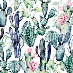 Fototapeta Kwiaty Cacti pattern, watercolor background, hand drawn flower illustration. Plants perfect for design stickers, greeting card, wallpaper, backdrop, site, blog, banner. Isolated on white. Cacti collection.