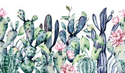 FototapetaWatercolor cacti, seamless border, hand drawn flower illustration. Perfect for floral design greeting card, blog, site, banner, wedding invitation. Isolated on white. Cacti collection.