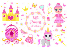 Set Of Cute Little Princess, Castle, Pony, Crown Carriage And Accessories. Fairy Tale Baby Girl Princess And Her Pet. Vector Illustration.