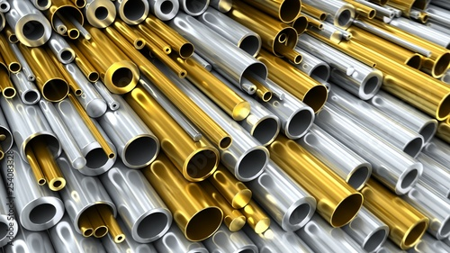 Poster Metal Close-up set of different diameters copper and steel round pipes and kernels. Industrial 3d illustration