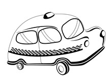 Isolated Cartoon Taxi Cab. Public Transport. Vector Illustration Design