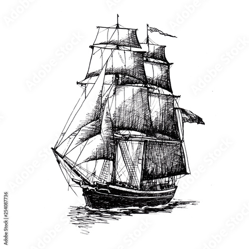 Tuinposter Schip Ship sailing yacht boat antique vintage antique black ink hand drawing