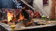 Campfire In Bedouin House Where Tea Or Arabic Coffee Are Prepared.