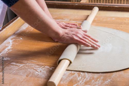 石臼でひいた手打ち蕎麦打ち Canvas-taulu