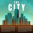 City downtown skyscrapers landscape architecture buildings retro poster. illustration Vector
