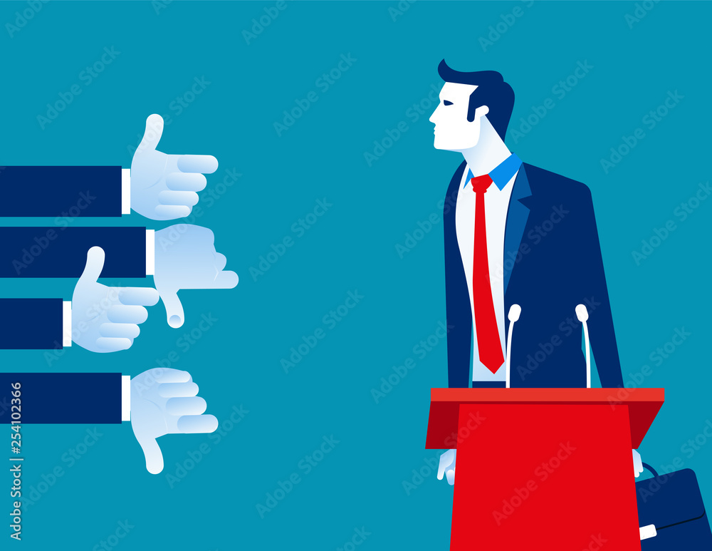 Fototapety, obrazy: Businessman with like and dislike hands. Concept business vector, Speaker, Response, Audience.