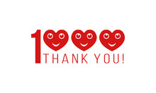 Number 1000 With Smiling Hearts And Thank You, Thanks For Followers Likes Or Comments