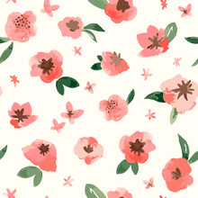 Vector Spring Watercolor Pink Flowers Seamless Pattern