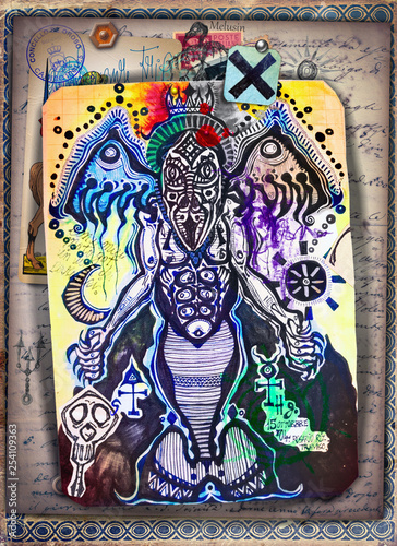 Fotobehang Imagination Alchemy and tarot's. Manuscripts, sketches, graffiti and alchemical, astrological, esoteric, ethnical drawings, with symbols, tarots, and chemical and magical formulas