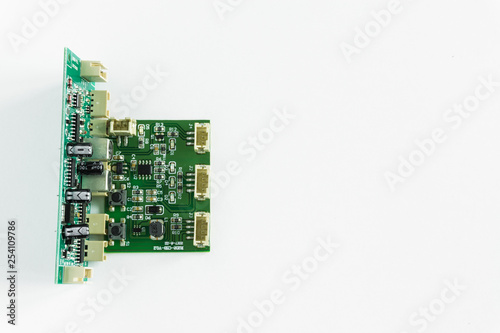 Fototapeta green transistor board on white background obraz na płótnie