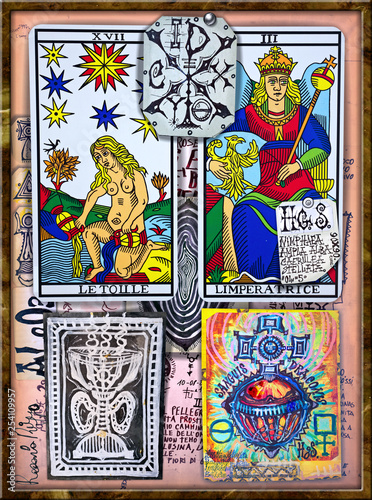 Foto op Aluminium Imagination Alchemy and tarot's. Manuscripts, sketches, graffiti and alchemical, astrological, esoteric, ethnical drawings, with symbols, tarots, and chemical and magical formulas
