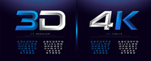 Elegant Silver And Blue 3D Met...