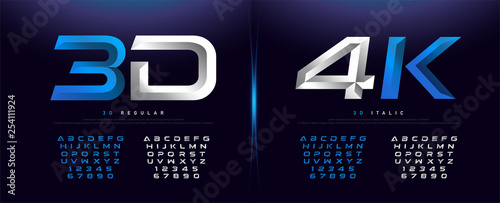 Fotografía  Elegant Silver And Blue 3D Metal Chrome Alphabet And Number Font