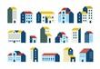 Minimal flat houses. Simple geometric buildings cartoon set, urban city town houses graphic set. Vector minimal house exteriors