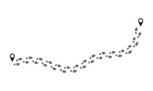 Footprint Route. Human Prints Follow Trail, Funny People Shoe Steps, Black Footstep Signs Isolated On White. Vector Foot Shoeprints Route