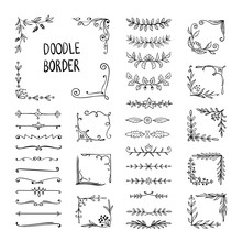 Doodle Border. Flower Ornament Frame, Hand Drawn Decorative Corner Elements, Floral Sketch Pattern. Vector Doodle Frame Elements