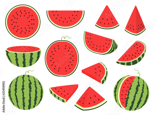 Leinwand Poster Cartoon slice watermelon