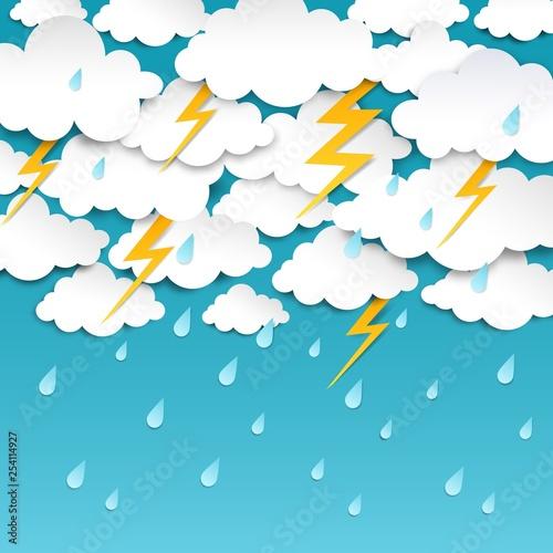 Cuadros en Lienzo Paper cut rainy sky