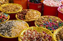 Assorted Candy Sold In Market During Chinese New Year. Selected Focus.