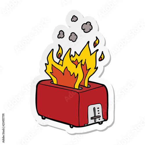 Fotografiet  sticker of a cartoon burning toaster