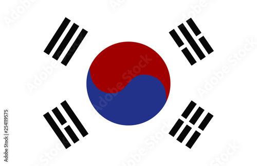Fotografía  Vector flag of the Republic of Korea isolated on white backgound